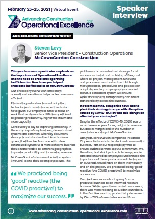 Advancing Construction Operational Excellence 2021 Steven Levy Speaker Interview